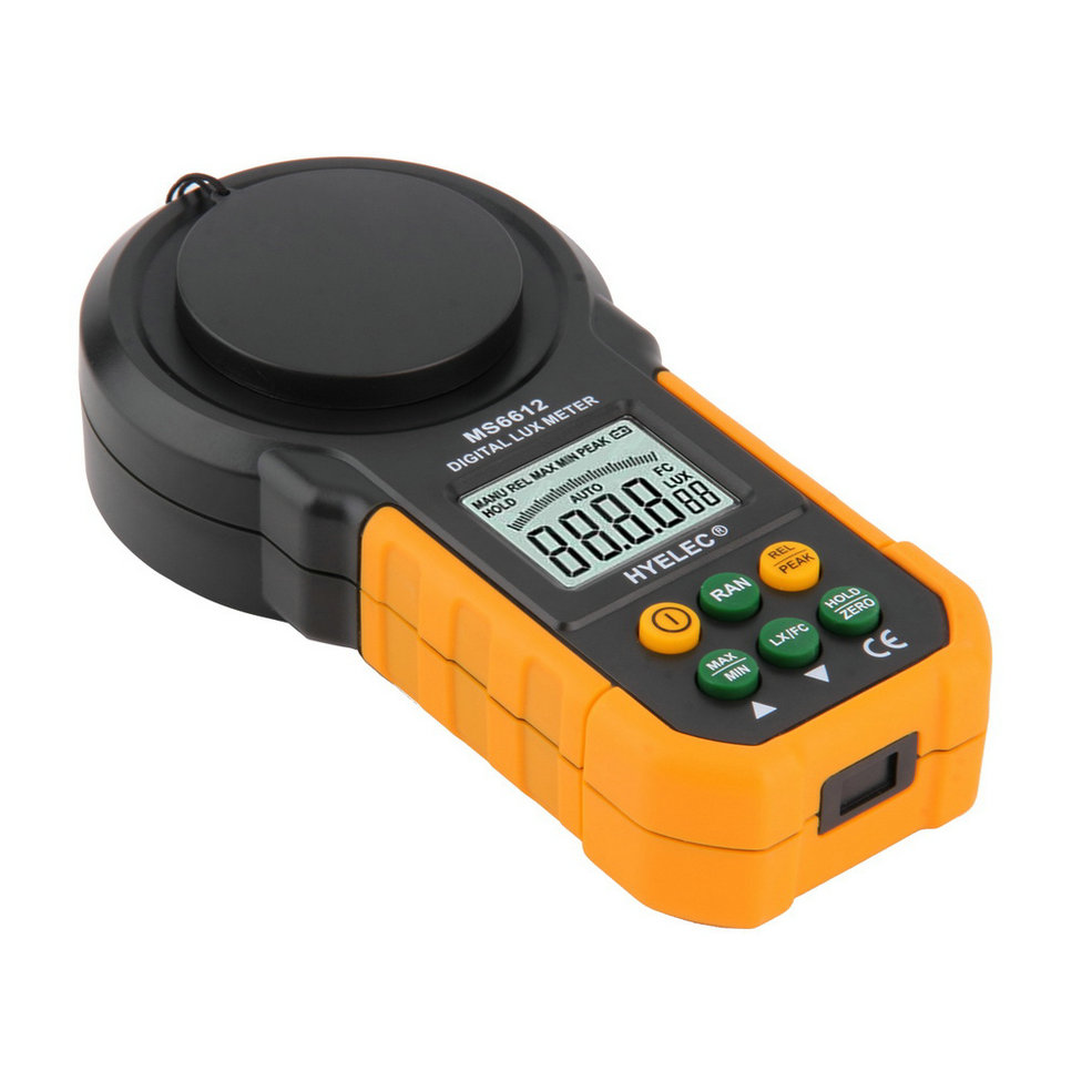 1pc Professional MS6612 Digital Luxmeter 200,000 Lux Light Meter Test Spectra Auto Range Stock Offer Hot Sales professional led light meter 0 1lux 200000lux 0 01fc 20000fc lcd led light digital lux meter filter lense rotate probe luxmeter