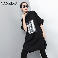 Summer 2019 Women New Arrival Loose Casual Fashion Turn down Collar Half Sleeve Patchwork Letter Print Dress T Shirt Q455