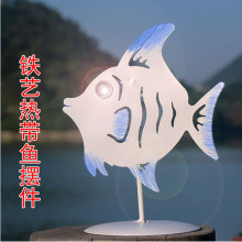 Metal Shape tropical fish iron candle holder decorative with glass cup for Bar Desktop decoration