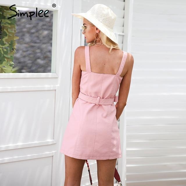 Simplee Fashion PU leather dress women V neck mini sexy dress Sash zipper winter black short dress sundress vestido de festa