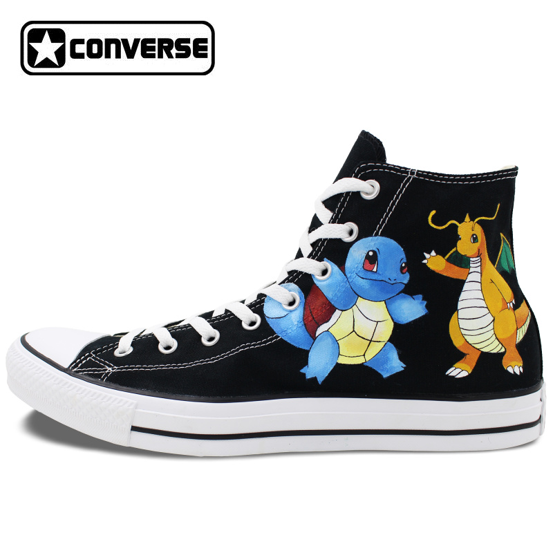 Prix pour Chaussures Homme Femme Converse All Star Pokemon Aller Squirtle Dragonite Custom Design Peint À La Main Chaussures Hommes Femmes Sneakers CosPlay