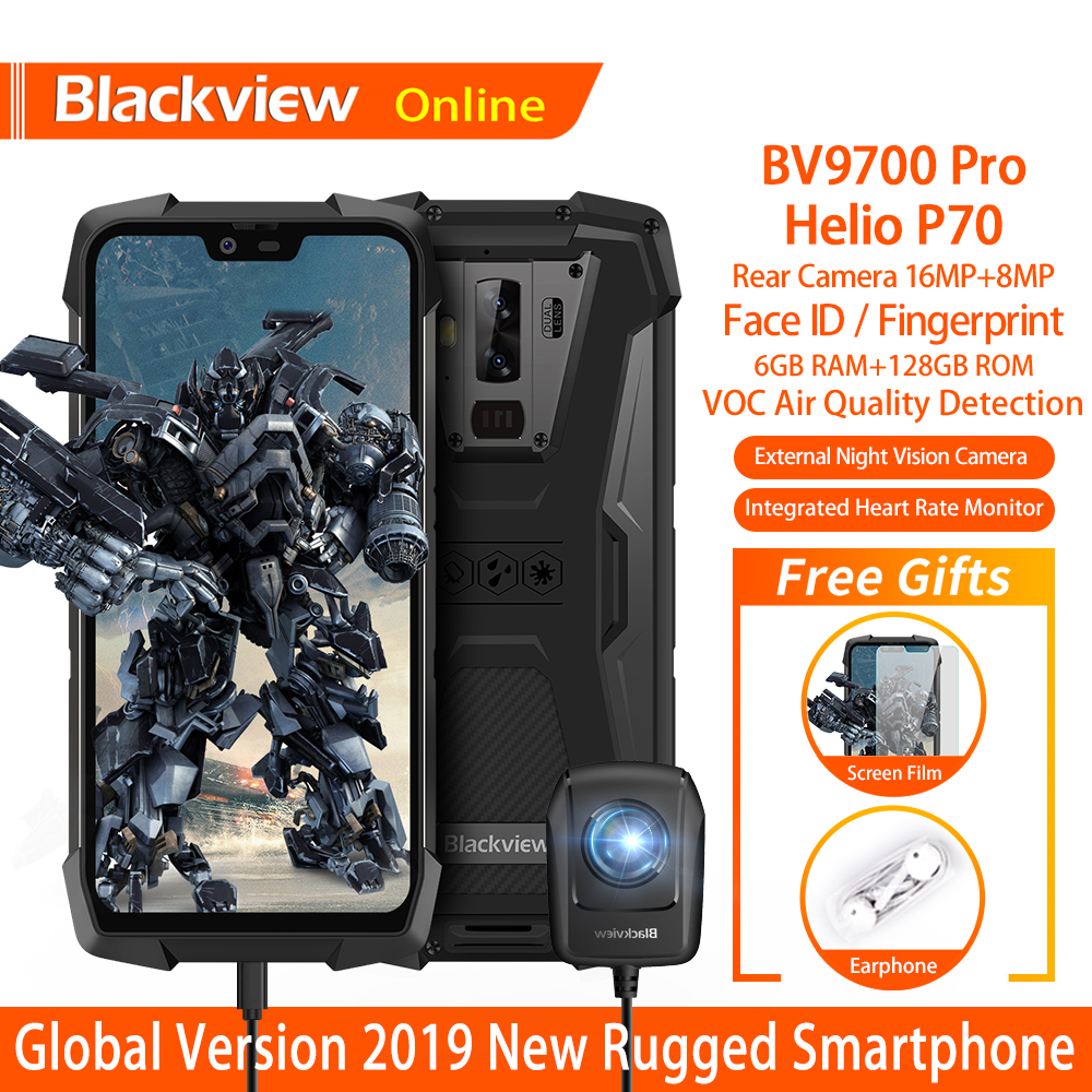 Blackview BV9700 Pro IP68 Waterproof Rugged Outdoor Smartphone 6GB+128GB Android 9.0 Night Vision Camera 16.0 MP 4G Mobile Phone