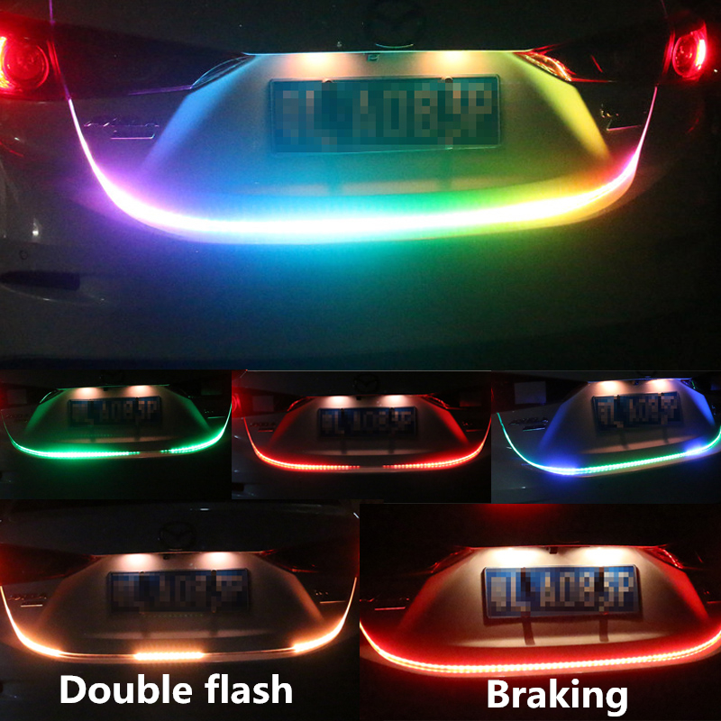 Car Styling 120cm RGB Rear Trunk Tail Light LED Strip Lighting RGB Dynamic Streamer Warning Lights Brake Turn Signal Leds Strips car styling tail lights for toyota highlander 2015 led tail lamp rear trunk lamp cover drl signal brake reverse