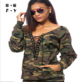 T Shirts Women New Women Lace Up shirt Army Green T Shirt Tops Gilrs Fashion Long Sleeve Camouflage BlousePrint Shirts