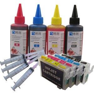 Image 1 - Recharge kit dencre T1281 cartouche dencre rechargeable pour epson stylet SX430W SX435W SX438W SX440W SX445W bureau BX305F BX305FW imprimante