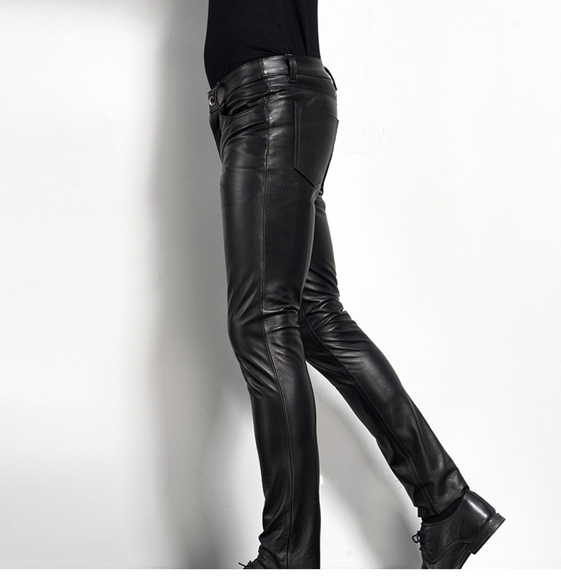 Men's Leather Pant Biker Pants Motorcycle Punk Rock Pants Tight Gothic Leather Pants  Slick Smooth Shiny Trousers Sexiest TJ01 23