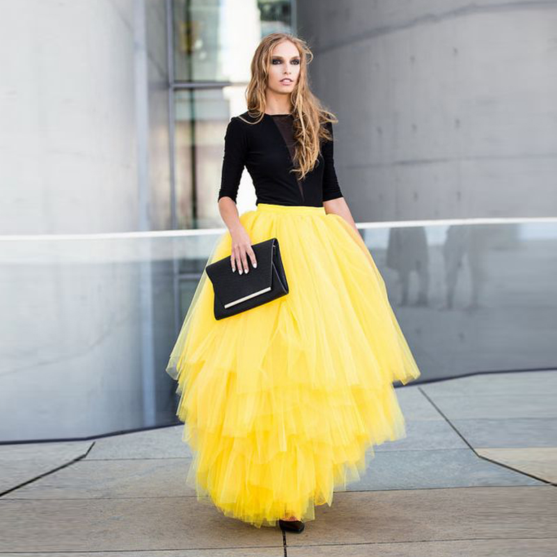 New Arrive Bright Yellow High Low Tulle Skirt Asymmetrical Soild Tutu Skirts saias na altura do joelho Floor Length Formal Skirt