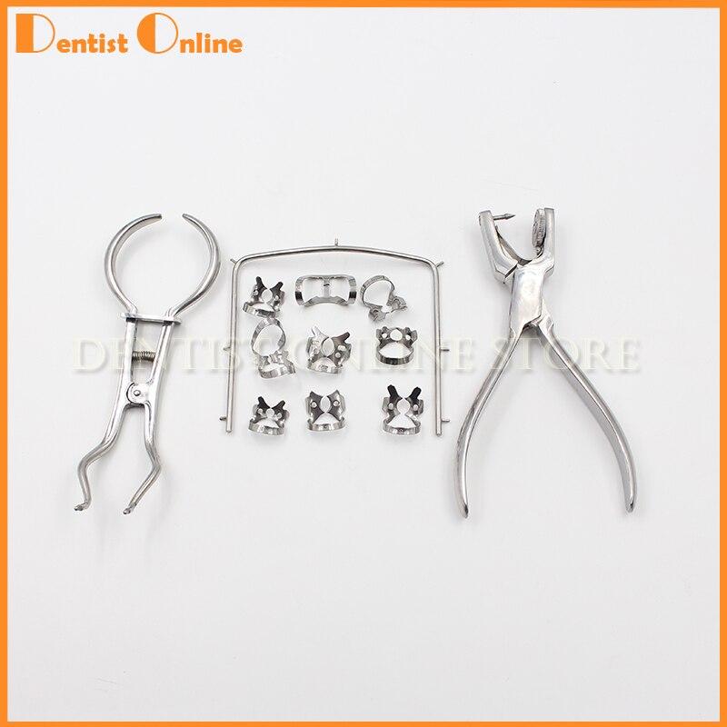 1set 12pcs Stainless Steel Dental Rubber Dam Kit Dental Surgical Instruments Free Shipping