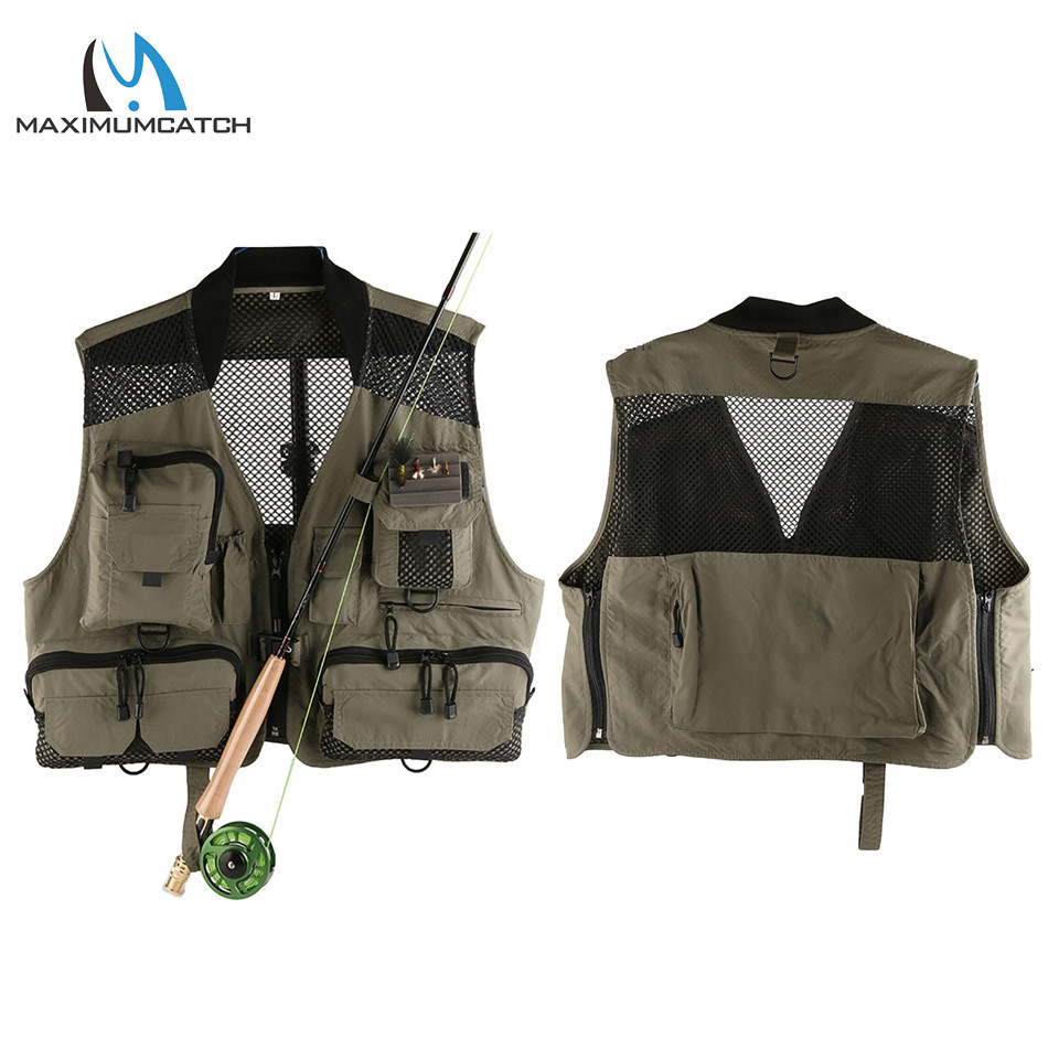 Maximumcatch Top Quality Breathable Men's Fly Fishing Vest Outdoor Mesh/Multi-Pockets Fishing Vest Super Light Fishing Jacket top quality hygroscopic breathable