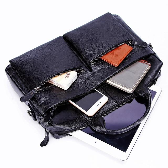 Lachiour Black Pu Leather Laptop Bag For 14 Inch Laptop 4