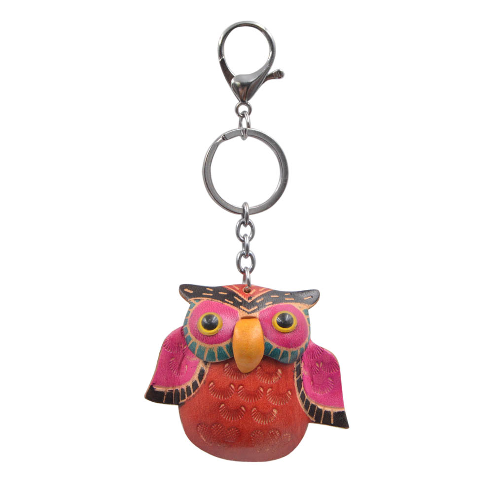 Youngtulip Cute Cowhide Owl Key Chains Unisex Vintage Animal Car Handbag Hanging Cow Leather Jewelry Handmade Key Jewelry Gift