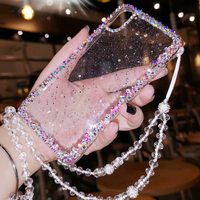 Glitter Transparent Woman For Iphone 7 Plus Case Luxury 3d For Iphone 8 Case Silicone 360 Mobile Phone Bags Cases Lanyard