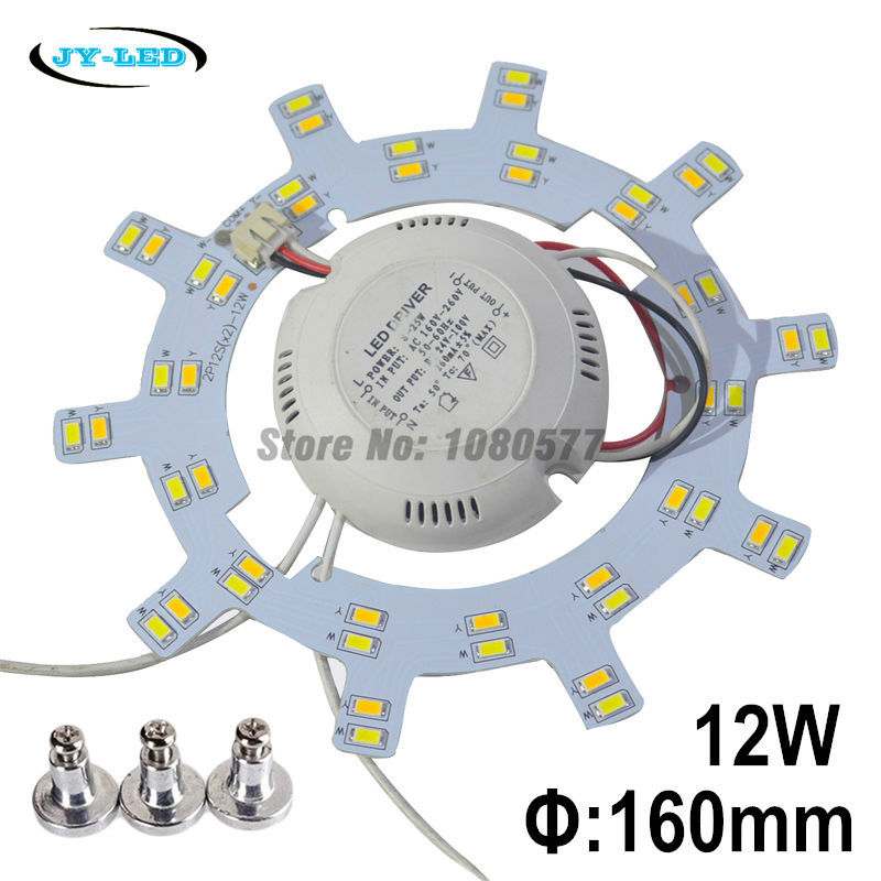 12W/24W 160mm Ceiling Light Board LED Panel Double Color SMD5730 White/Warm White/Nature White + Magnet Screw + Driver 28w x2 smd 5730 ceiling light pcb retrofit magnet board led ring light panel remoulding plate with driver and magnet screw