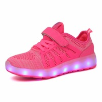 STRONGSHE New 2018 Hot Children Shoes With Light Boys&Girls Casual LED Shoes For Kids USB Charging LED Light Up 7 Colors Pink