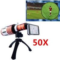2017 HD 50X Металл телефото зум объектив для iPhone 5 5S 6 6S 7 Plus случаях телескоп мобильного телефона Объективы для фотокамер комплект для samsung