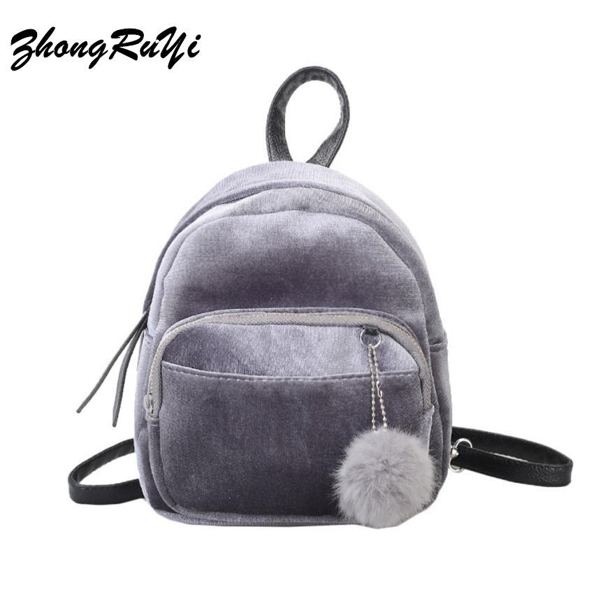 Girl Backpack Small Mini Backpack Small Women Shoulder Bag Fur Ball Solid Color Corduroy Back Pack winter Velvet Schoolbag