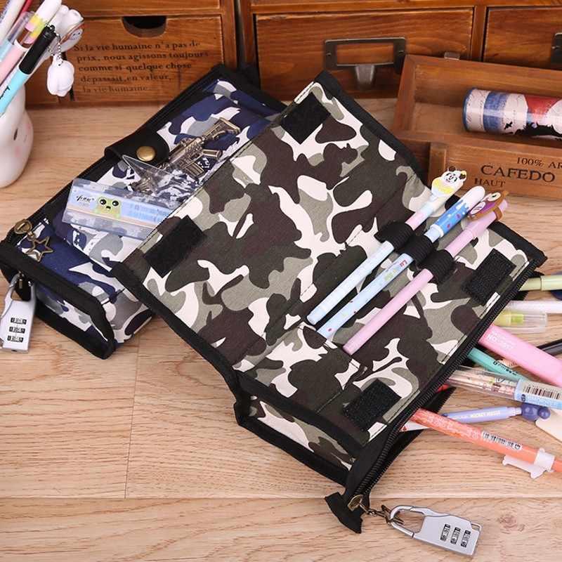 Boy Camouflage Canvas Pencil Case Stationery Estuches Chancery School Cute kalem kutusu Pencilcase penalty with Code Lock 04941