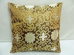 Винтажная квадратная большая подушка для дивана, стула, автомобиля, Высококачественная декоративная шелковая парчовая Подушка для спины 40x40 43x43 40x50 50x50 60x60 см - Цвет: Коричневый
