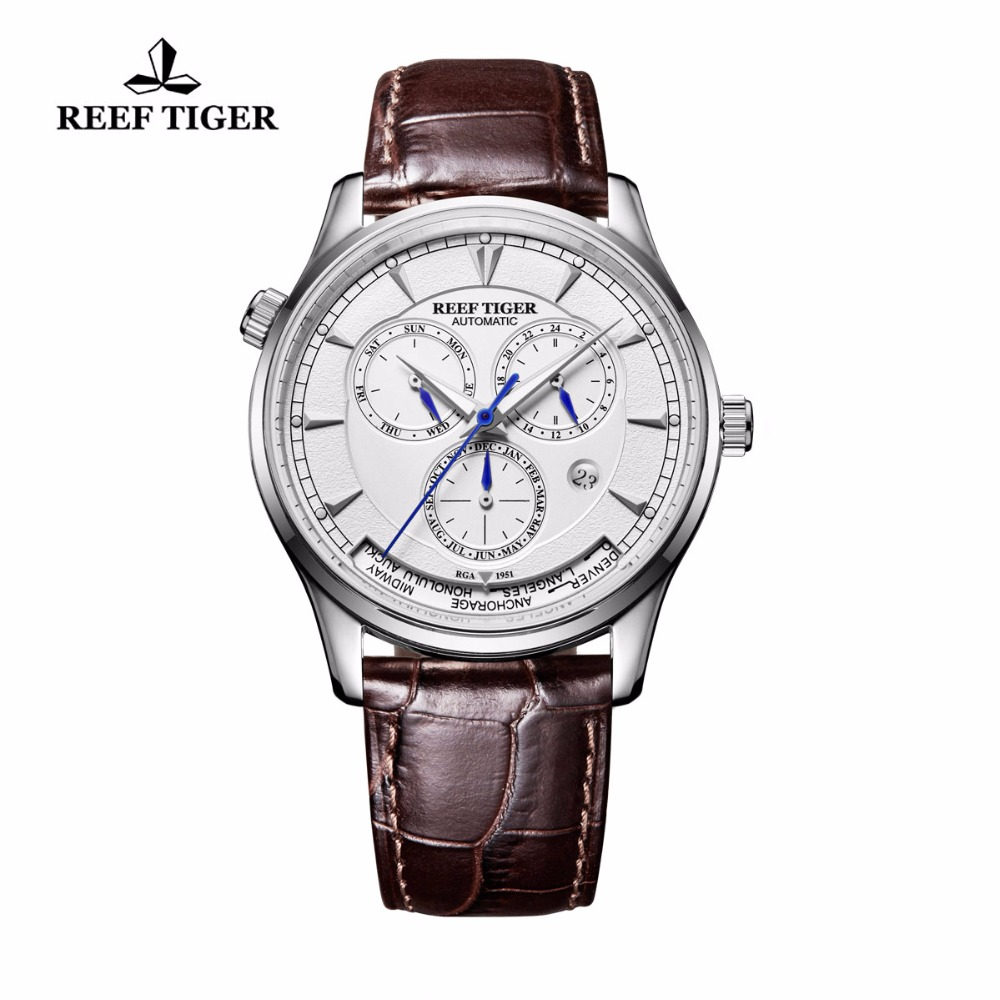 Reef Tiger/RT Brand Luxury Time Automatic Watch for Men Sports Complicated White Dial Steel Date Day Watch Relogio Masculino rover time rt 255