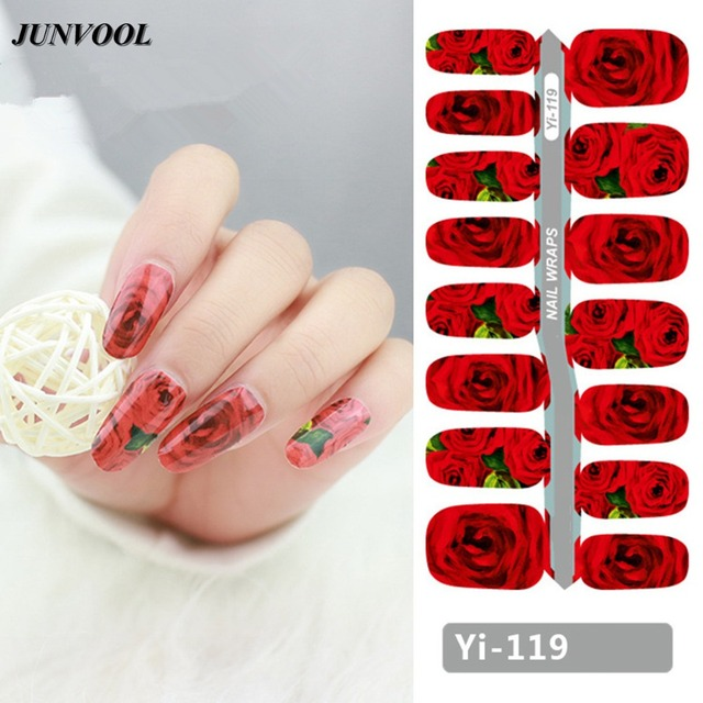Nail Sticker Red Rose Design Flowers Adhesive Foil Nail Art
