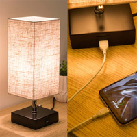 LED Table Lamp USB Desk Lamp reading lamp nightlight for bedroom with Unique Shade and Brown Base lw511222py
