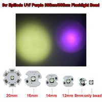 2 uds Cree 3535 paquete LED 3W EPILEDS UV ultravioleta 365nm/395nm Chip 20mm base para la pesca, secador de uñas, Detector de monedas