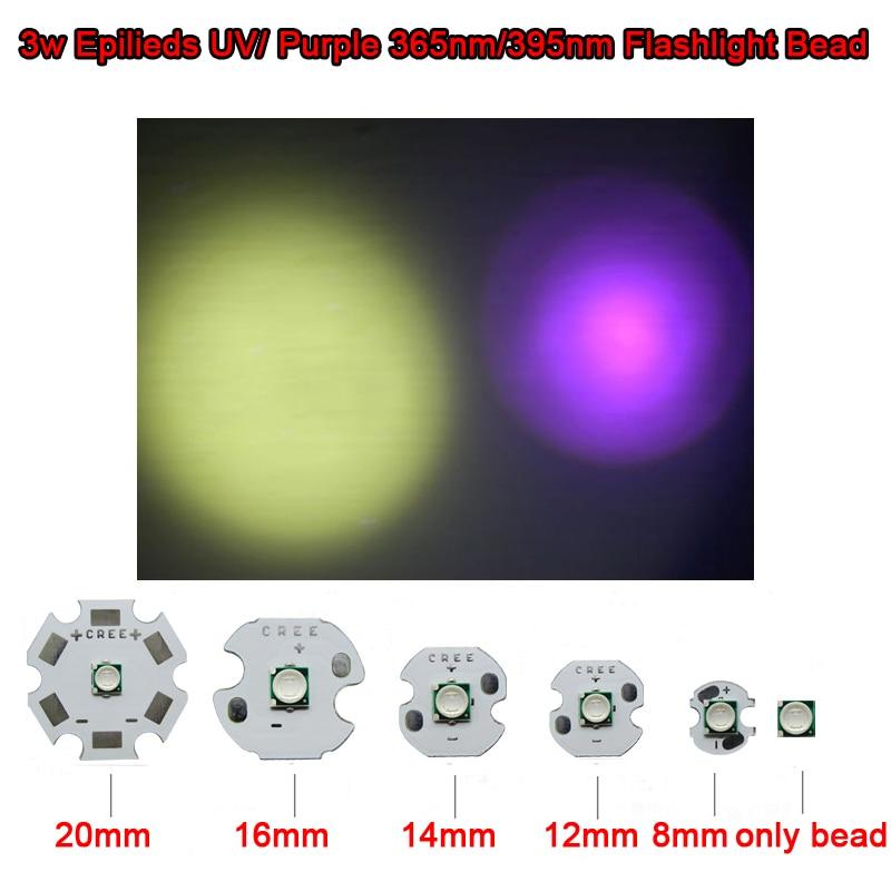 2pcs Cree 3535 paket LED 3W EPILEDI UV ultraljubičasto 365nm / 395nm čip 20 mm baza za ribolov, sušila za nokte, detektor valute