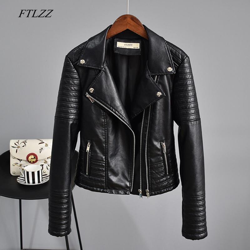 FTLZZ Autumn Faux Leather Jacket Women Turndown Collar Pu Motorcycle Black Punk Coat Female Rivet Zipper Outerwear