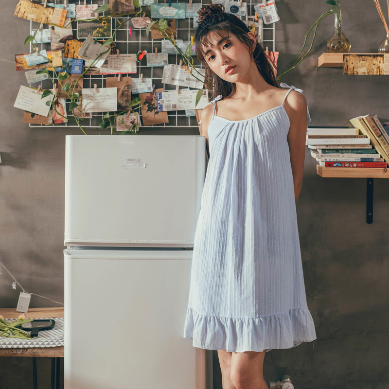 Summer Lovely Girl Cotton Spaghetti Strap Sexy Sleepwear Striped Womens Lingerie   Nightgown   Sleeveless   Sleepshirts   Night Dress