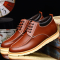 Spring Fall Casual Men Shoes Invisible Heighten 6cm Waterproof Men Shoes Trend Flat Lace-up Round Toe Leather Men Boots Maschio