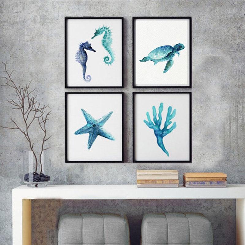 Oceanic Creatures Art Prints Blue Teal Watercolor Painting Seahorse ...