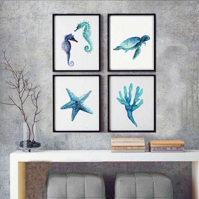 Oceanic Creatures Art Prints Blue Teal Watercolor Painting Seahorse Sea  Turtle Seaweed Starfish Wall Decor Living
