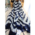 2016 Hot Sale fashion brand cotton black and white scarf with tassel blue stripe print 100% Cotton scarf for women summer shawl