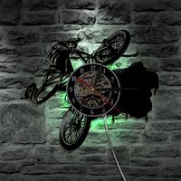 Creative Vinyl Wall Clock Modern Design LED Lighting Clocks Bicycle Vintage 3D Decorative Classic CD Wall Watch Silent 12 inch