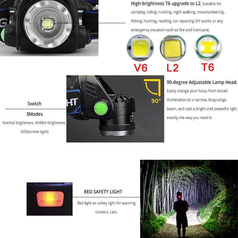 LED far 5000lum hareket sensörlü LED far V6/L2/T6 yakınlaştırma far el feneri el feneri kullanımı 2*18650 pil ile balıkçılık