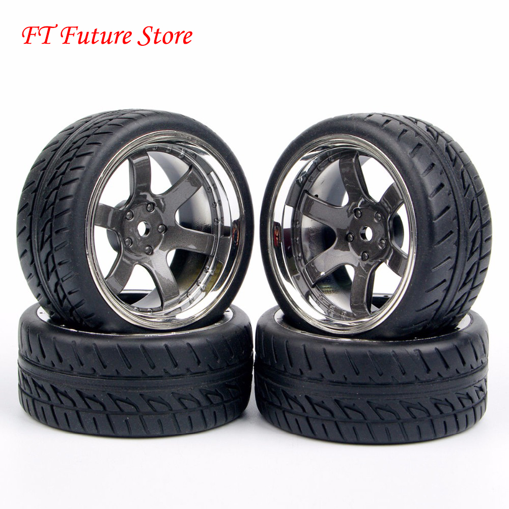 4X Rubber Tires Wheel Rim PP0038+PP0150 For HPI HSP Racing RC 1:10 On Road Car Accessory