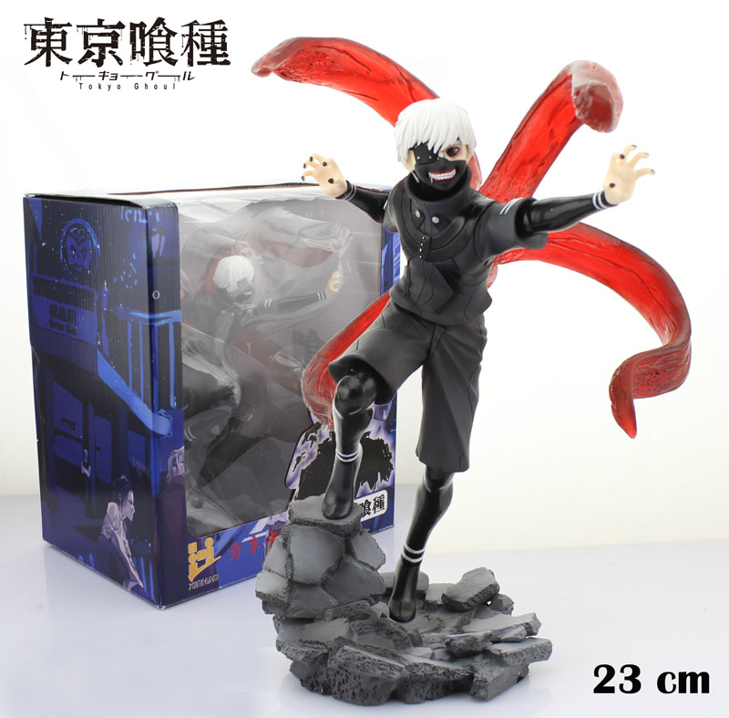 Free Shipping Cool 9 Tokyo Ghouls Kaneki Ken Awakened Black Wear Ver. Boxed 23cm PVC Action Figures Collection Model Doll Toy 2 style tokyo ghoul kaneki ken awakened ver pvc action figure collectible model doll toy 22cm