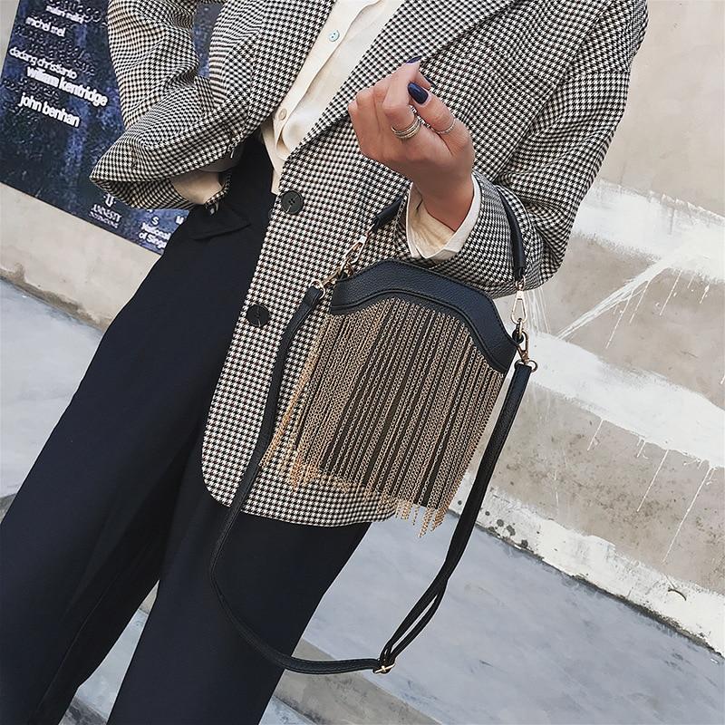 GYKAEO 2018 Winter Female Tassel Bucket Small Shoulder Bag Korean Style Fashion Shopping Women Messenger Bag Ladies Tote Bags 4