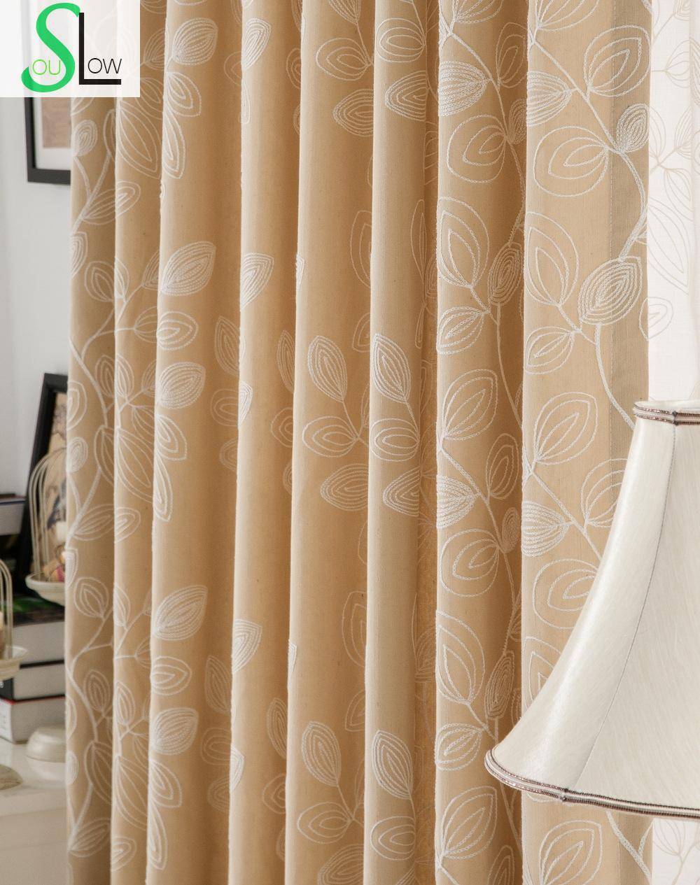 Sheer curtain texture - Cotton Embroidered Curtain Four Broadleaf Grass Texture Yarn Pastoral Leaves Curtains For Living Room Sheer Tulle