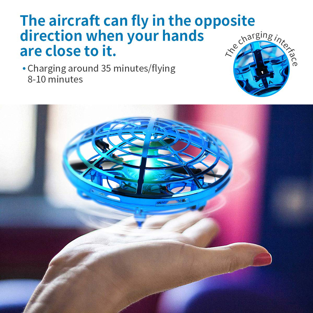 Mini Drone UFO Hand Operated RC Helicopter Quadrocopter Dron Infrared Induction Aircraft Flying Ball Toys For Kids 3