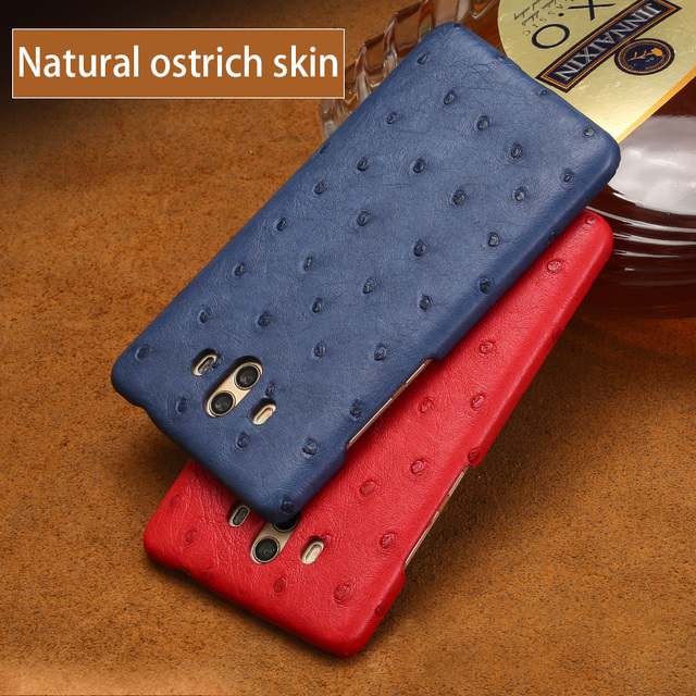Genuine leather case For Huawei Mate 9 10 Pro case Natural Ostrich skin slim back cover For P10 P20 Nova 3 Plus P Smart cases