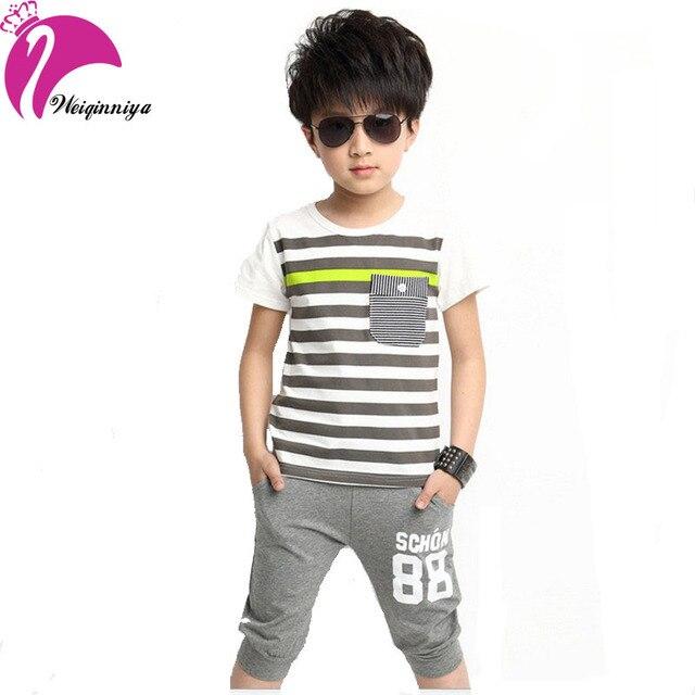 Новый стиль 2016 детей мальчик полосатый устанавливает лето мода футболки брюки свободного покроя хлопок спорт 2 шт. спортивные костюмы