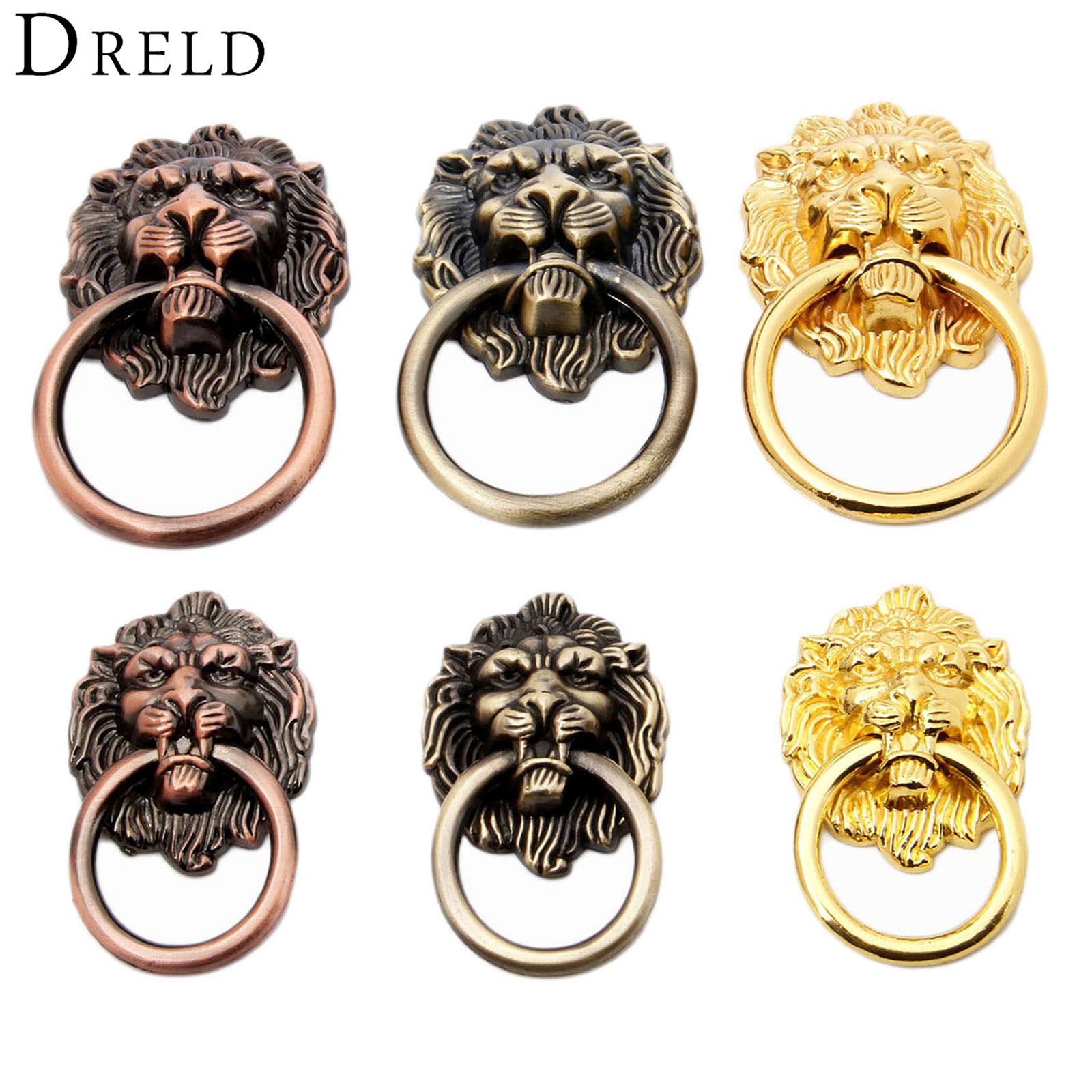 DRELD Antique Furniture Handles Vintage Lion Head Cabinet Knobs and Handles Furniture Door Cabinet Drawer Pull Handle Knob Ring 10 pcs vintage furniture handles cabinet knobs and handles cupboard door cabinet drawer knobs antique shell furniture handle