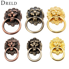 DRELD Antique Furniture Handles Vintage Lion Head Cabinet Knobs and Door Drawer Pull Handle Knob Ring