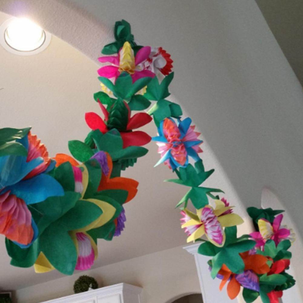 Hawaii Style Colorful Tissue Flower Garland 3m Tropical Type