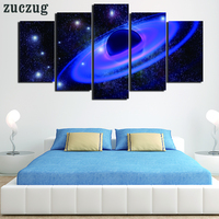 5 Piece Modern Starry Sky Wall Painting Art Picture Print On Canvas Meteor And Space Painting