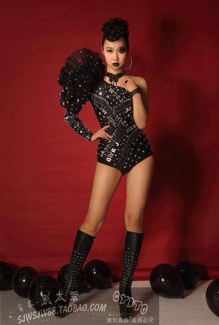 Bar Rhinestone Bodysuit Singer Ds Stage Bodysuit Women Djds Gogo Performance Suit Sexy DJ Dance Costume Stage Dress