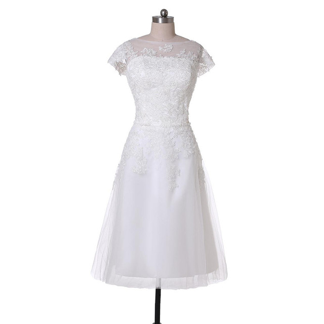8624081e6d94 New Simple Design Tea Length Wedding Dresses Cap Sleeve Appliques Lace  Tulle ALine Short 2017 Latest