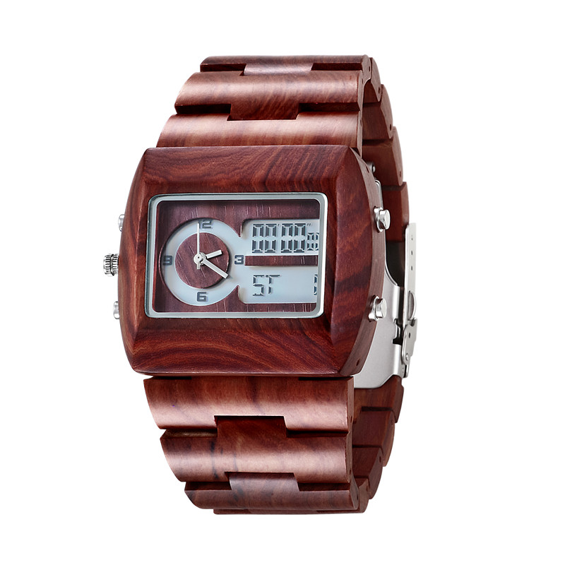ФОТО Bewell Brand Red Wooden Watches For Man With Multifunction Quartz  Digital Wristwatch Buesiness  Gifts