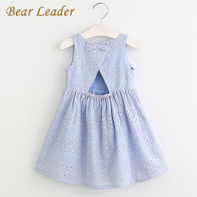 Bear leader niñas vestidos de 2017 nueva marca de verano kids princess dress lindo emobroidery diseño del arco para niñas 2-6y ropa de los niños